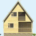 Фасад 1 дома 6х8м из бруса 100х150мм вариант 1 (код: д-06)