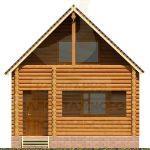 Дом 6,5х5,5м оцилиндрованное бревно 220мм (Код: Д-02) - фасад 3