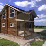 Дом 6х5,5м оцилиндрованное бревно 180мм (Код: Д-10) - фасад 3
