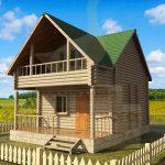 Дом 7,4х5,4м оцилиндрованное бревно 200мм (Код: Д-09)