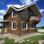 Дом 6х5,5м оцилиндрованное бревно 180мм (Код: Д-10) - фасад 4