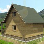 Дом 6х8м брус 100х150мм вариант 2 (Код: Д-07) - Фасад 2