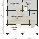 Баня 6х5м бревно 180мм (Код: Б-12)
