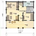 План дом 9х8,7м профилированный брус 200х200мм (Код: Д-56)