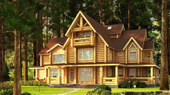Красивый деревянный дом в лесу